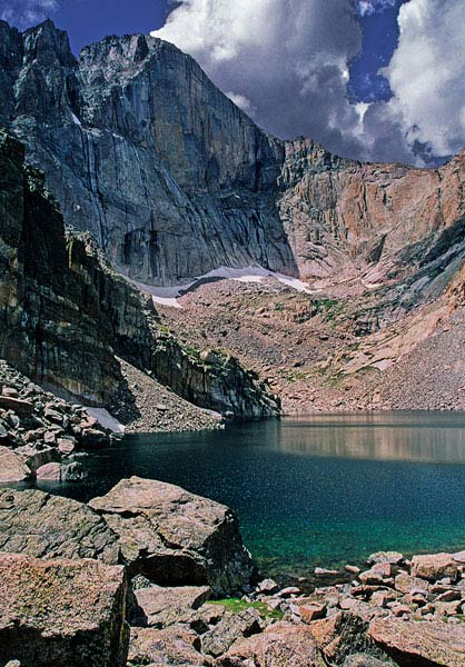 Longs Peak from Chasm Lake in Rocky Mountain National Park